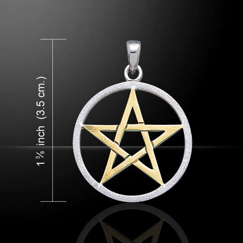 Vermeil Pentacle Pendant with Sandbrushed Circle (Sterling Silver)