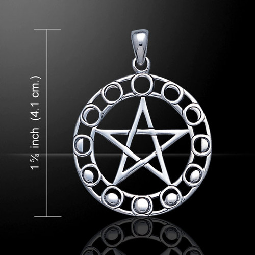 Pentacle with Moon Phases Pendant (Sterling Silver)