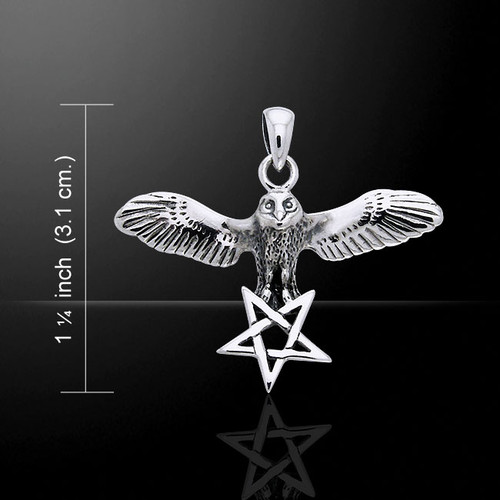 Flying Owl with Pentacle Pendant (Sterling Silver)