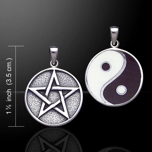Yin Yang Pentacle Pendant (Sterling Silver)