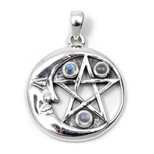 Moon and Pentagram with Moonstone Pendant (Sterling Silver)