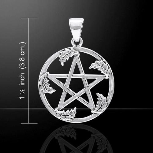 Oak Leaf Pentacle Pendant (Sterling Silver)