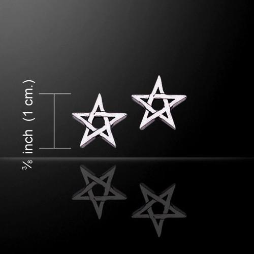 Pentagram Pentacle Earrings (Sterling Silver)