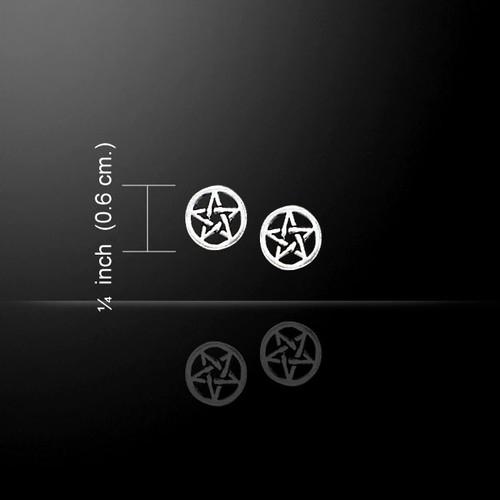 Circle Pentagram Pentacle Earrings (Sterling Silver)