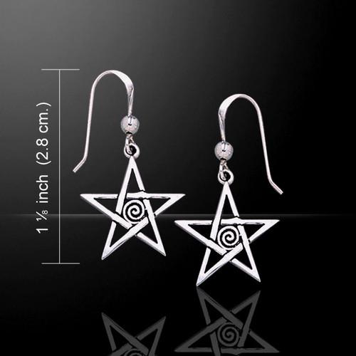 Spiral Pentagram Pentacle Earrings (Sterling Silver)