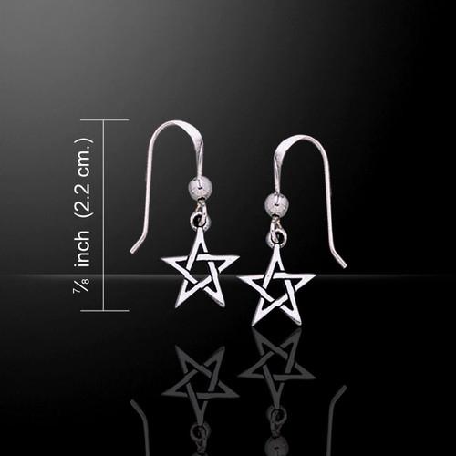 Small Pentagram Pentacle Earrings (Sterling Silver)
