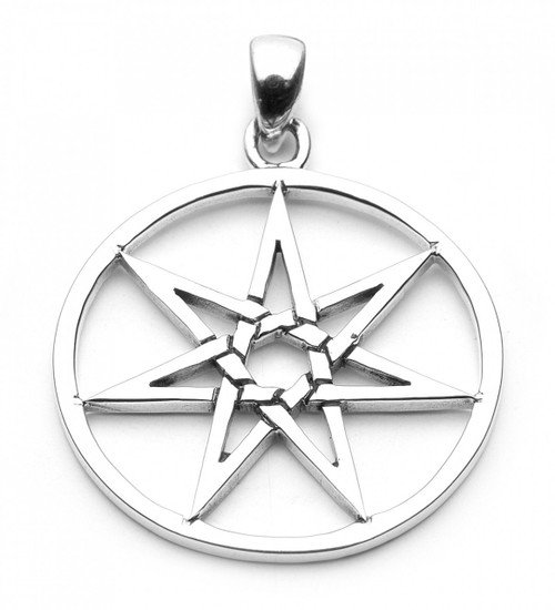 Large Seven Pointed Star Pendant (Sterling Silver)
