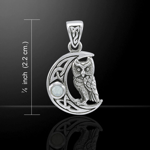 Owl on Crescent Moon (Sterling Silver)