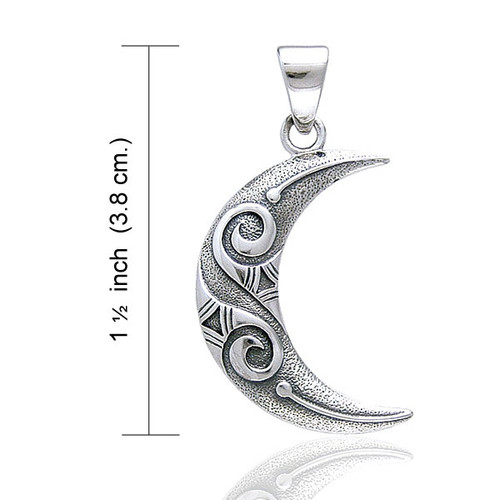 Spiral Moon Pendant (Sterling Silver)