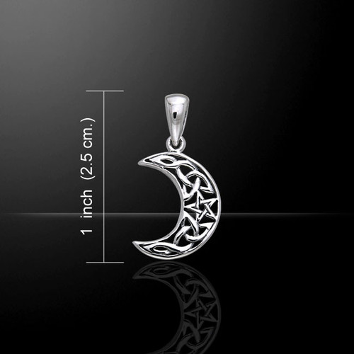 Celtic Knot Magick Moon with Tiny Pentacle Pendant (Sterling Silver)