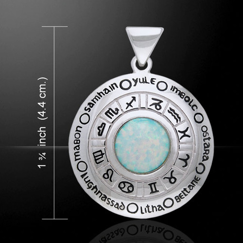 Astrology Wheel Moonstone Pendant (Sterling Silver)