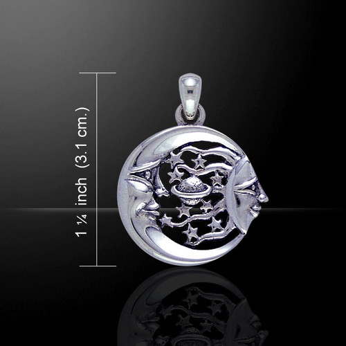 Moon Sun Stars and Planet Pendant (Sterling Silver)