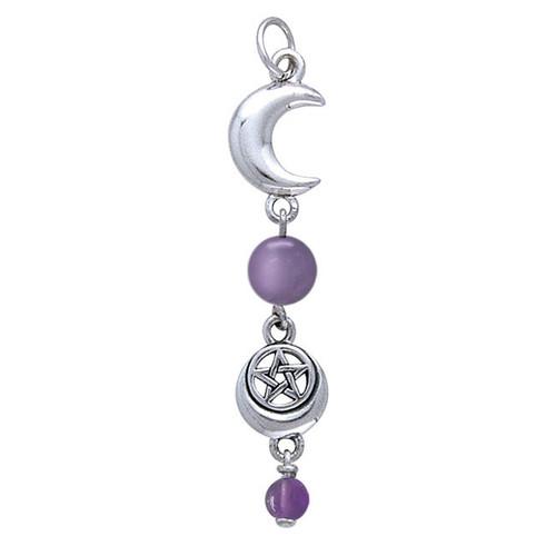 Moon & Pentacle Pendant (Sterling Silver)