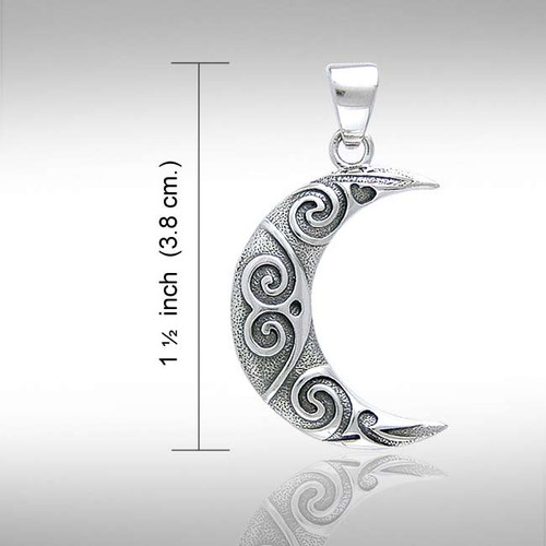 Spiral Knotwork Moon Pendant (Sterling Silver)