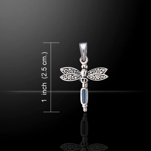 Dragonfly with Paua Shell Pendant (Sterling Silver)