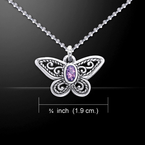 Butterfly Pendant with Amethyst (Sterling Silver)