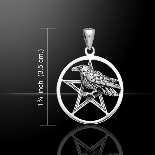 Raven Pentacle Pendant (Sterling Silver)