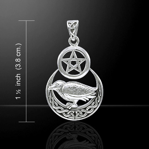 Raven on Crescent Moon & Pentacle Pendant (Sterling Silver)