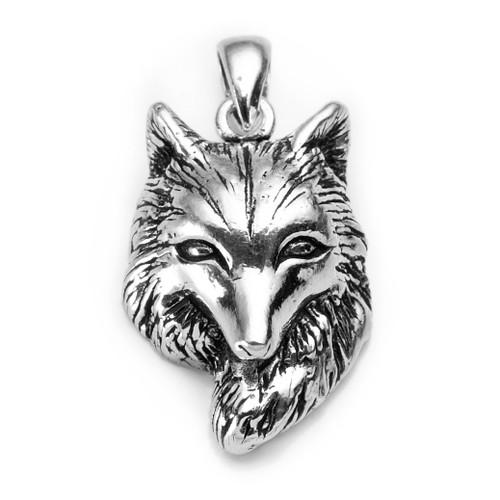 Single Wolf Pendant (Sterling Silver)