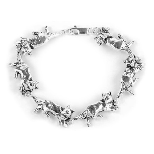 Sterling Silver Wolves Bracelet (7 Inches / 19 cms)
