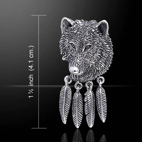Wolf with Hawk Feathers Pendant (Sterling Silver)