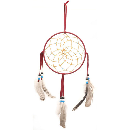 Burgundy Navajo Dream Catcher - Large 6 Inch