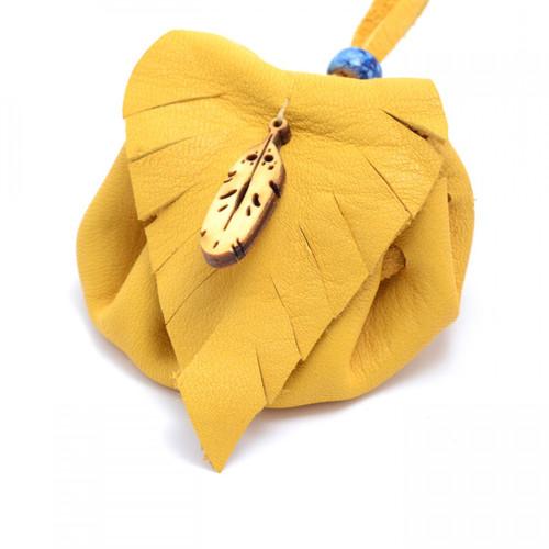 Feather Tan Leather Medicine Bag by Sylvia Jackson