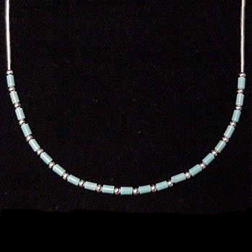 Necklace: Liquid Silver Chain with Turquoise Beading