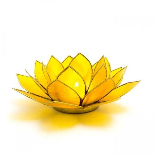 Capiz Shell Lotus Candle Holder - Yellow