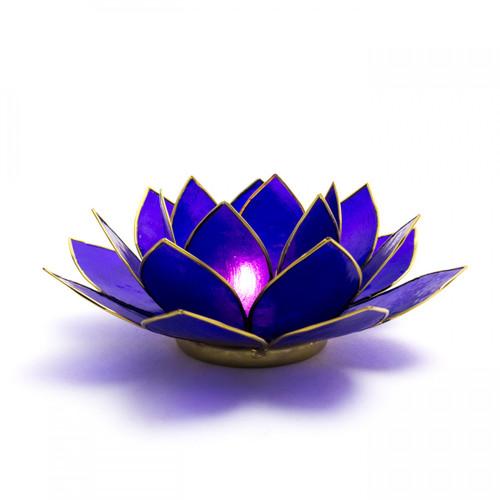 Capiz Shell Lotus Candle Holder - Indigo