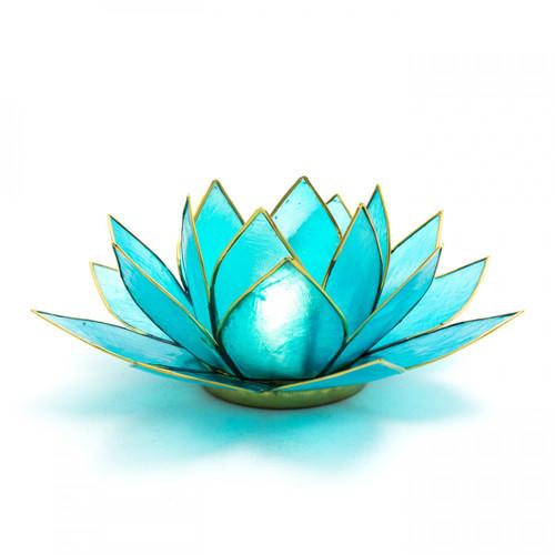 Capiz Shell Lotus Candle Holder - Blue