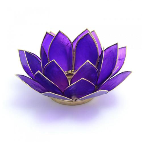 Capiz Shell Lotus Candle Holder - Purple
