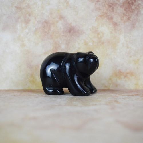 Hand Carved Bear - Black Obsidian