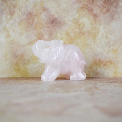 Hand Carved Elephant - Rose Quartz