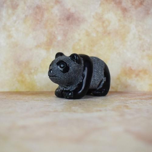 Hand Carved Panda - Black Obsidian