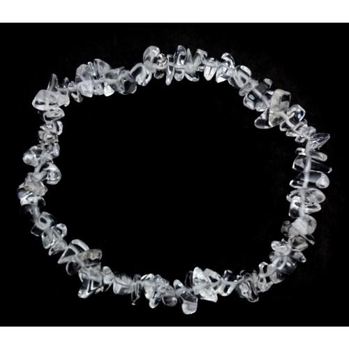 Elasticated Chip Bracelet - Clear Quartz