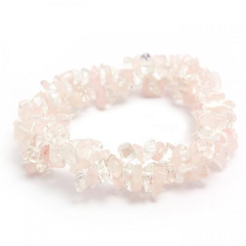 Chunky Elasticated Bracelet - Rose Quartz & Clear Quartz