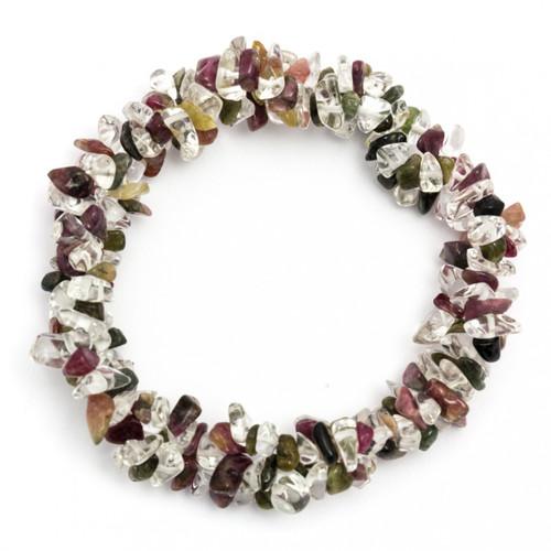 Chunky Elasticated Bracelet - Mixed Tourmaline