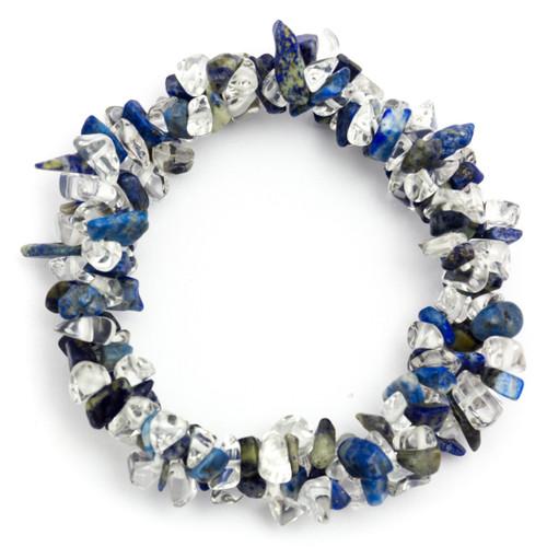 Chunky Elasticated Bracelet - Lapis Lazuli & Clear Quartz