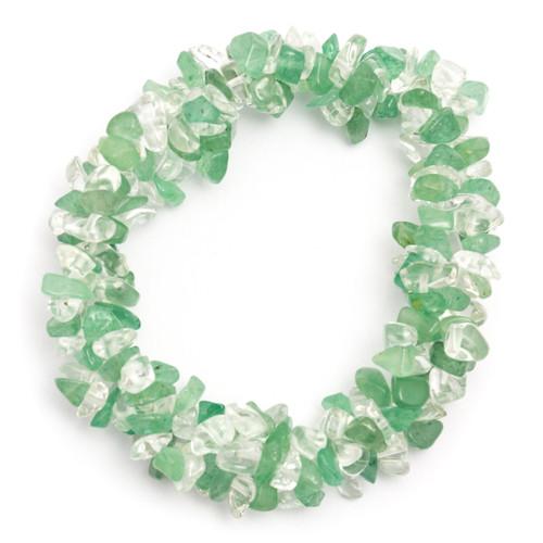 Chunky Elasticated Bracelet - Green Aventurine & Clear Quartz