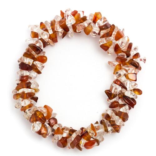 Chunky Elasticated Bracelet - Carnelian & Clear Quartz