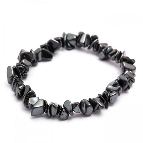 Elasticated Chip Bracelet - Hematite