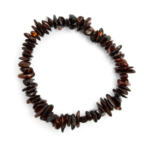 Elasticated Chip Bracelet - Cherry Amber