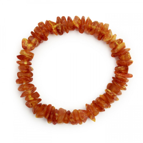 Elasticated Chip Bracelet - Cognac Amber