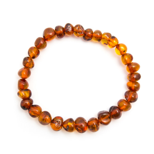 Elasticated Beaded Bracelet - Cognac Amber