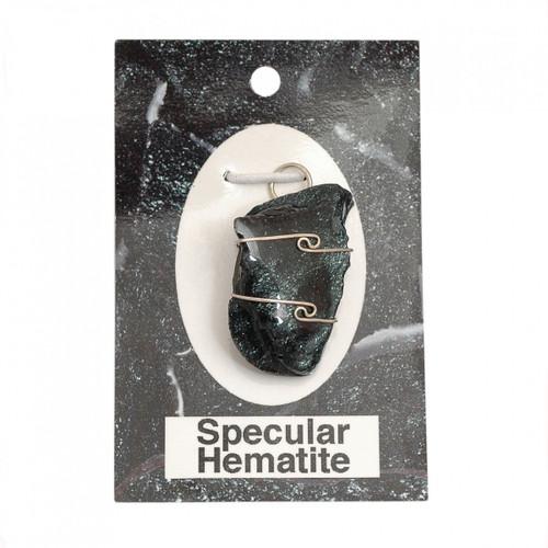 Wire Wrap Silver Pendant - Specular Hematite