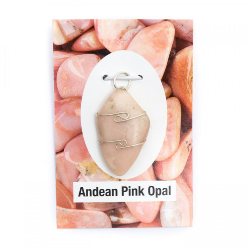 Wire Wrap Silver Pendant - Andean Pink Opal