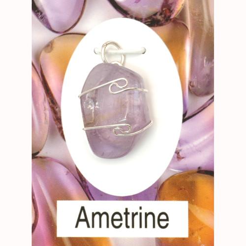 Wire Wrap Silver Pendant - Ametrine