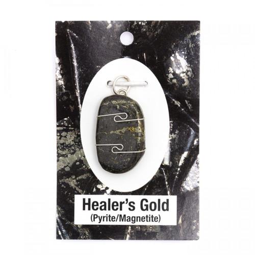Wire Wrap Silver Pendant - Healer's Gold
