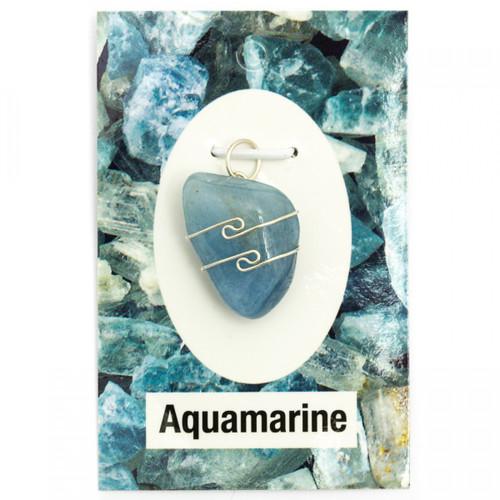 Wire Wrap Silver Pendant - Aquamarine